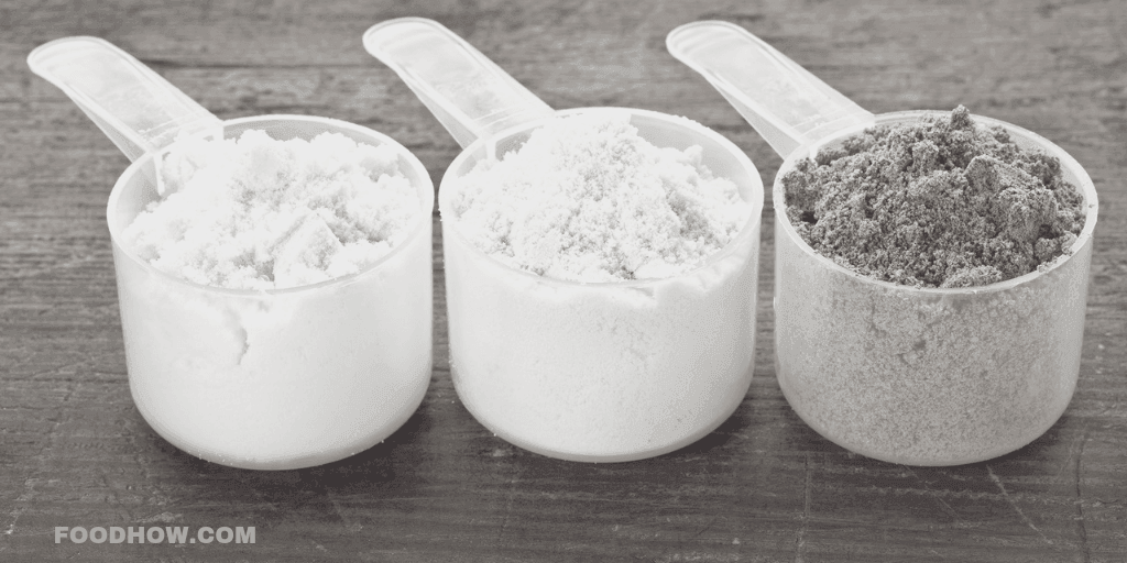 Scoops of protein different protein powder