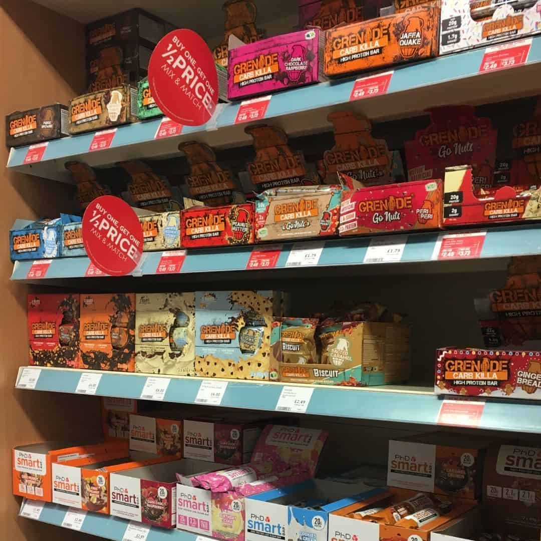 protein bars in the supermarket