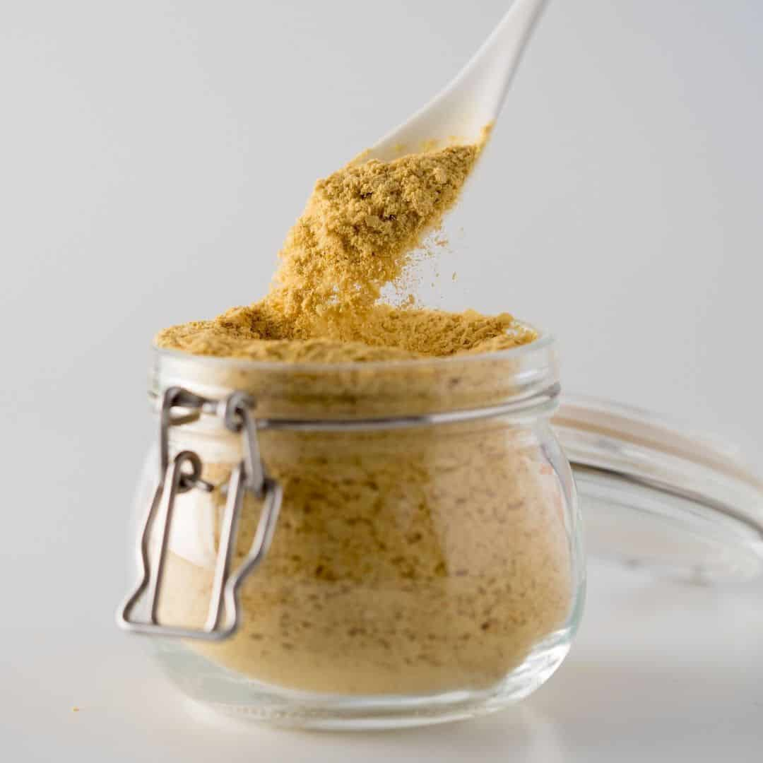 nutritional yeast in the jar