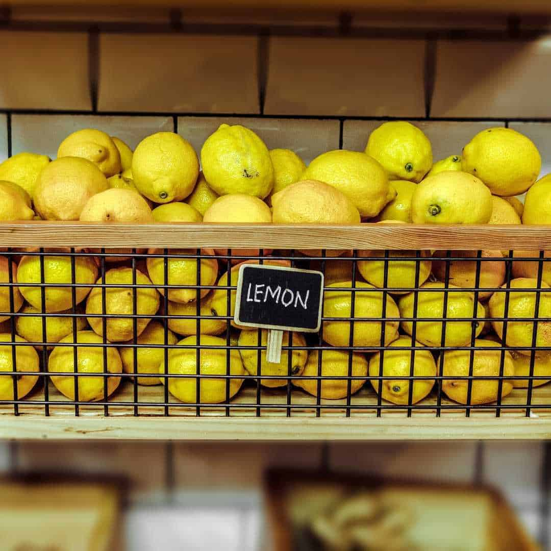 waxed citrus fruit in the shop