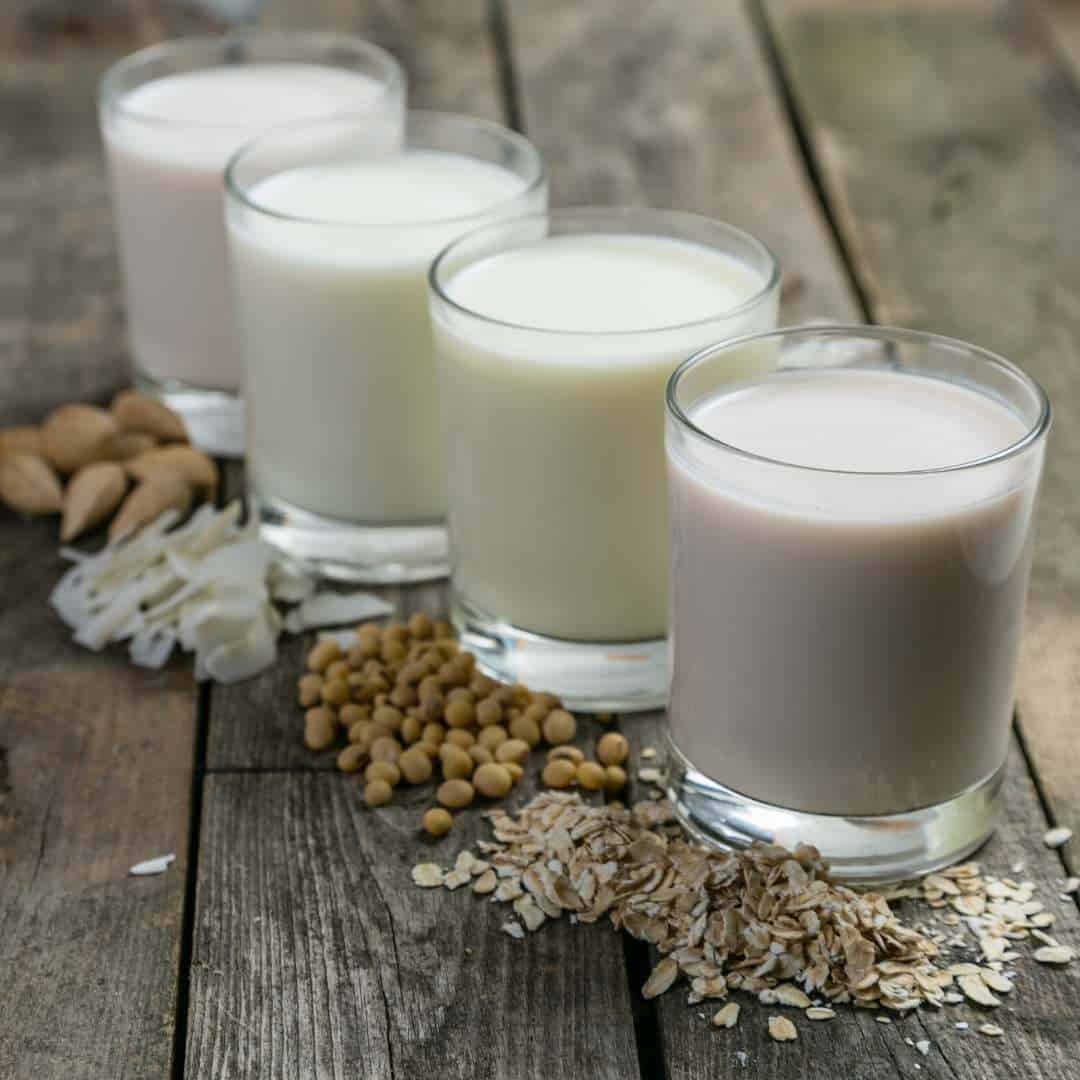 non-dairy milk like made of almonds and oats