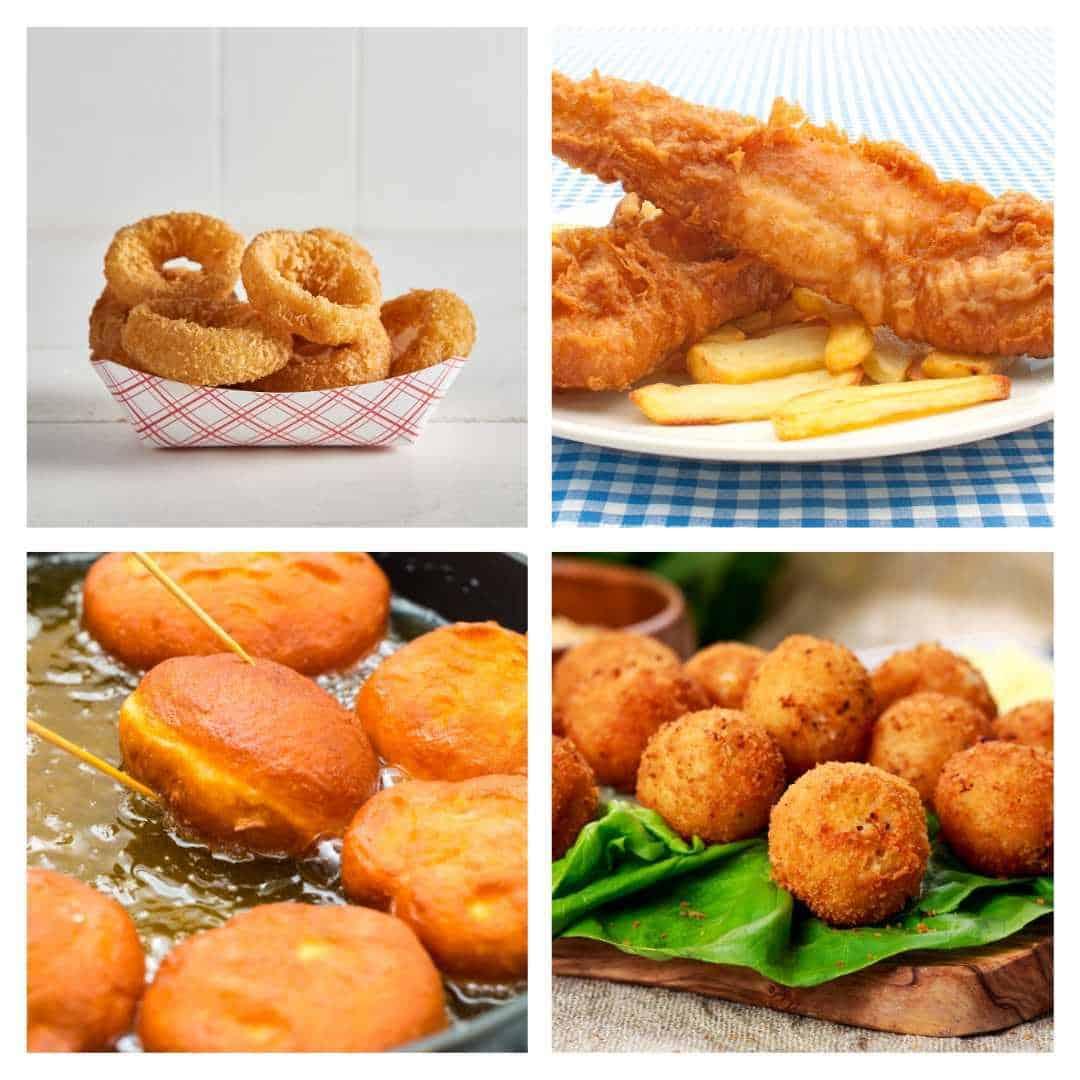 Popular fried foods like fish, french fries, cheese balls and onion rings