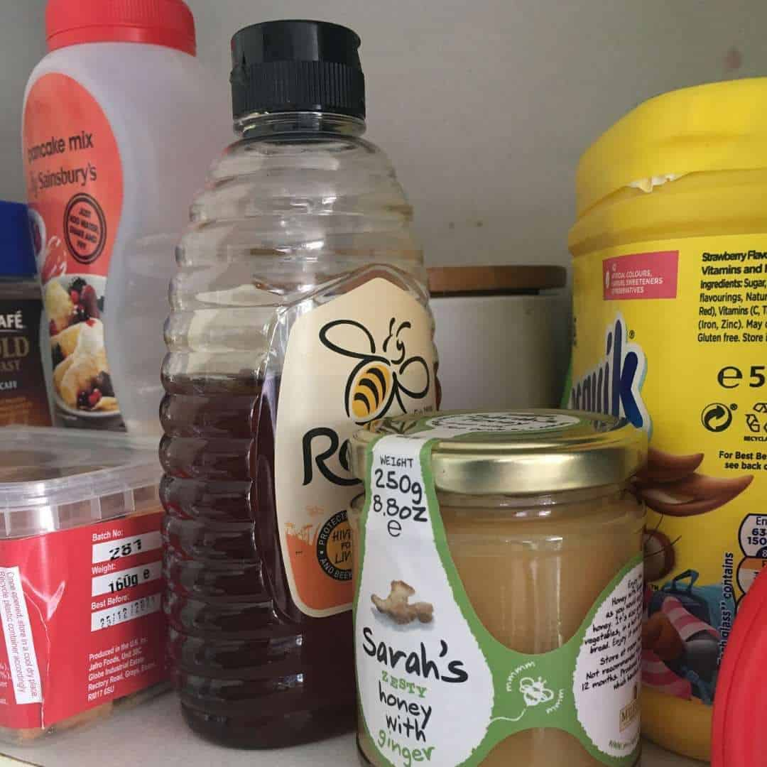 honey in the storage cabinet