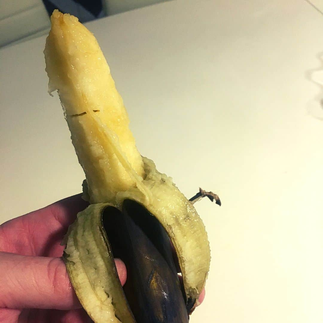 eating banana that is rotten