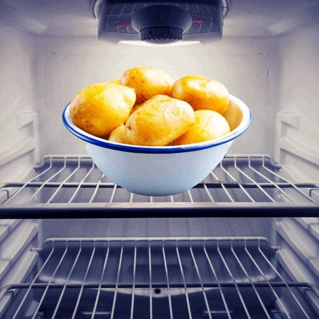 boiled potatoes with skin in the refrigerator