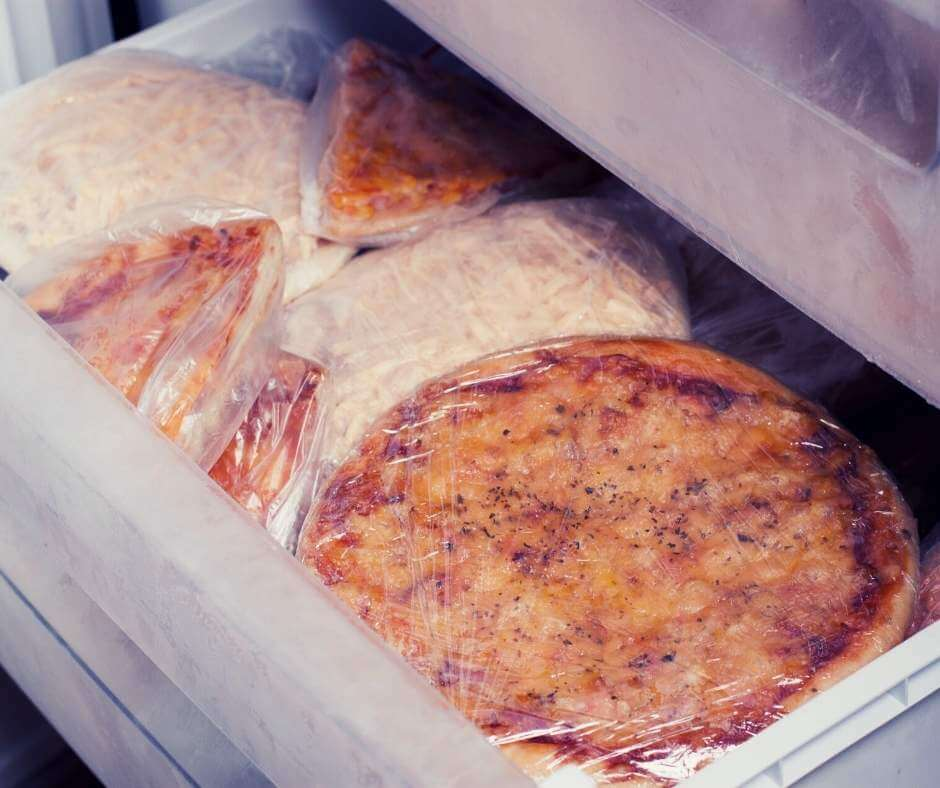 Properly stored leftover pizza in the freezer
