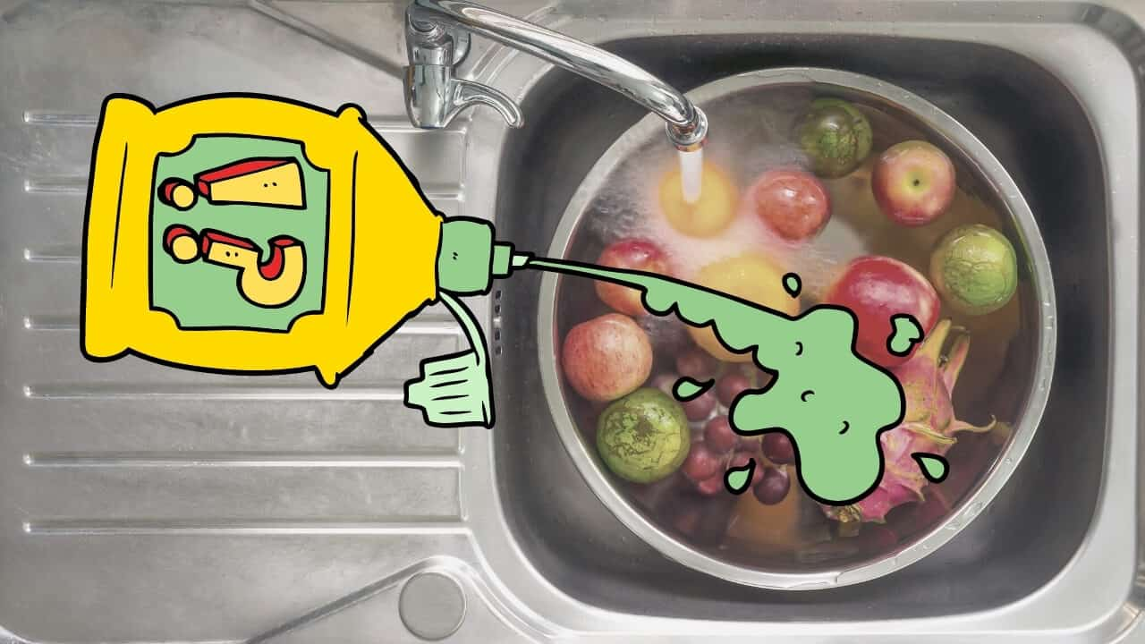 washing fruit and vegetables in the sink