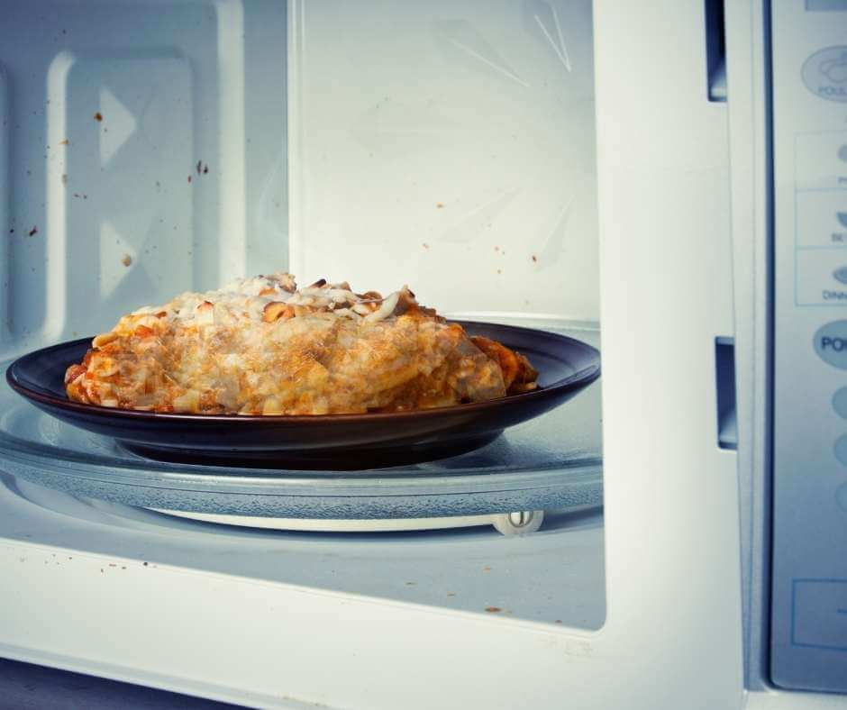 portion of lasagna in the microwave
