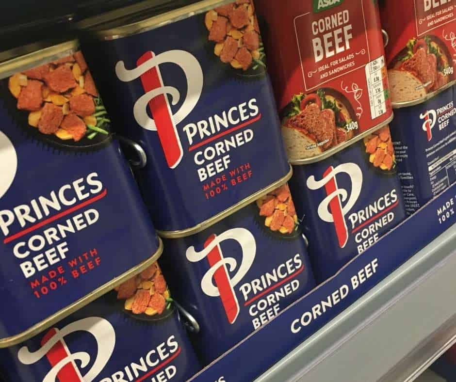canned corned beef in the supermarket