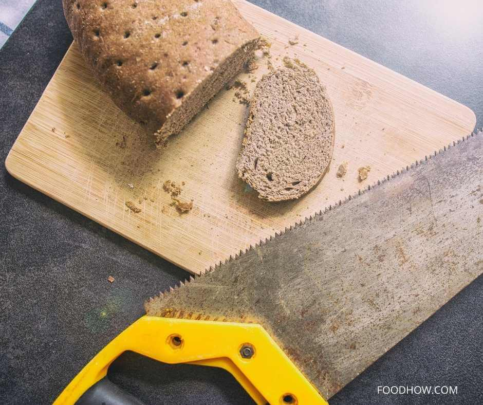 cutting stale loaf