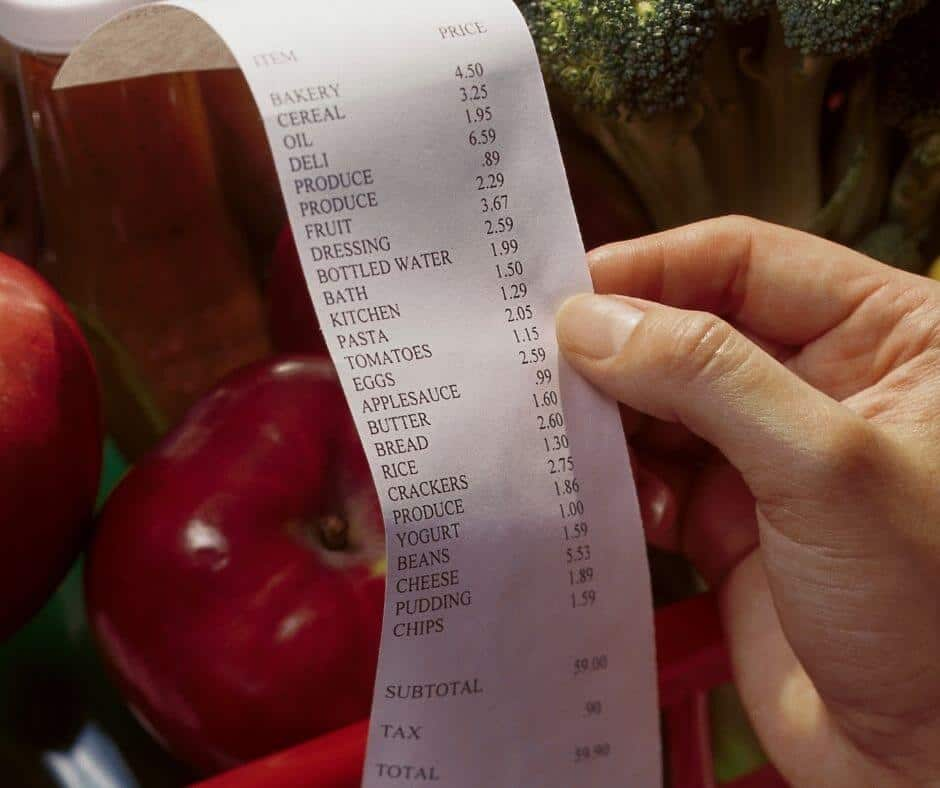 grocery bill for one person