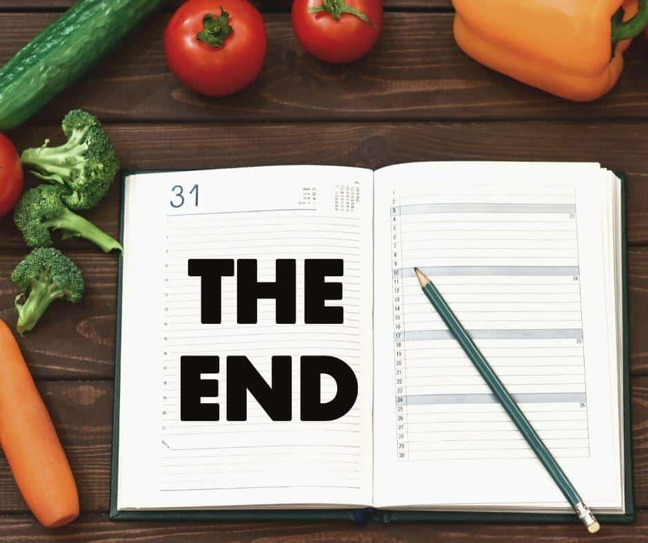 end of the diet marked in calendar