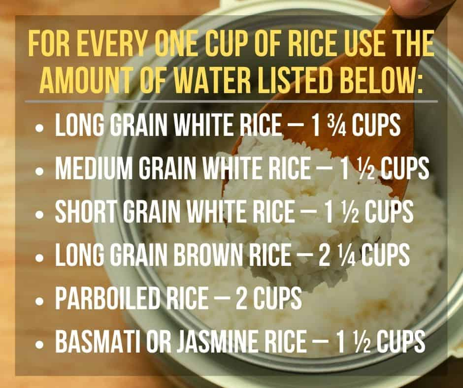 rice cooker water to rice ratio chart