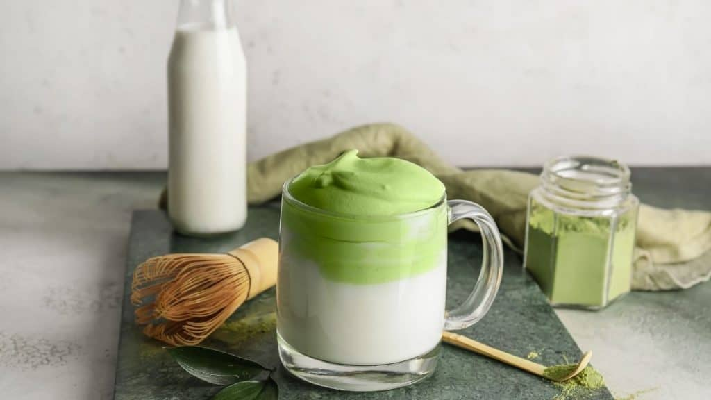 frothy matcha drink