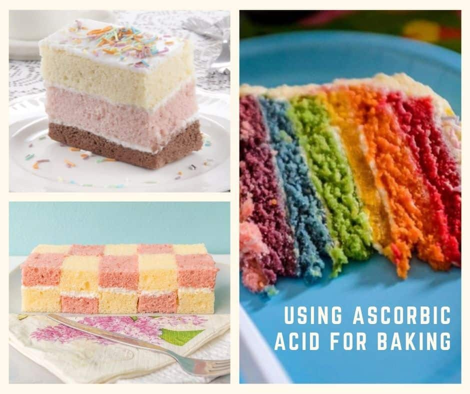 cakes made with a food color preserving agent