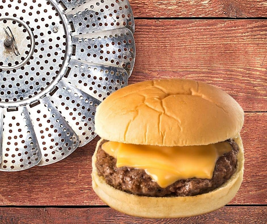 steaming burgers on stovetop