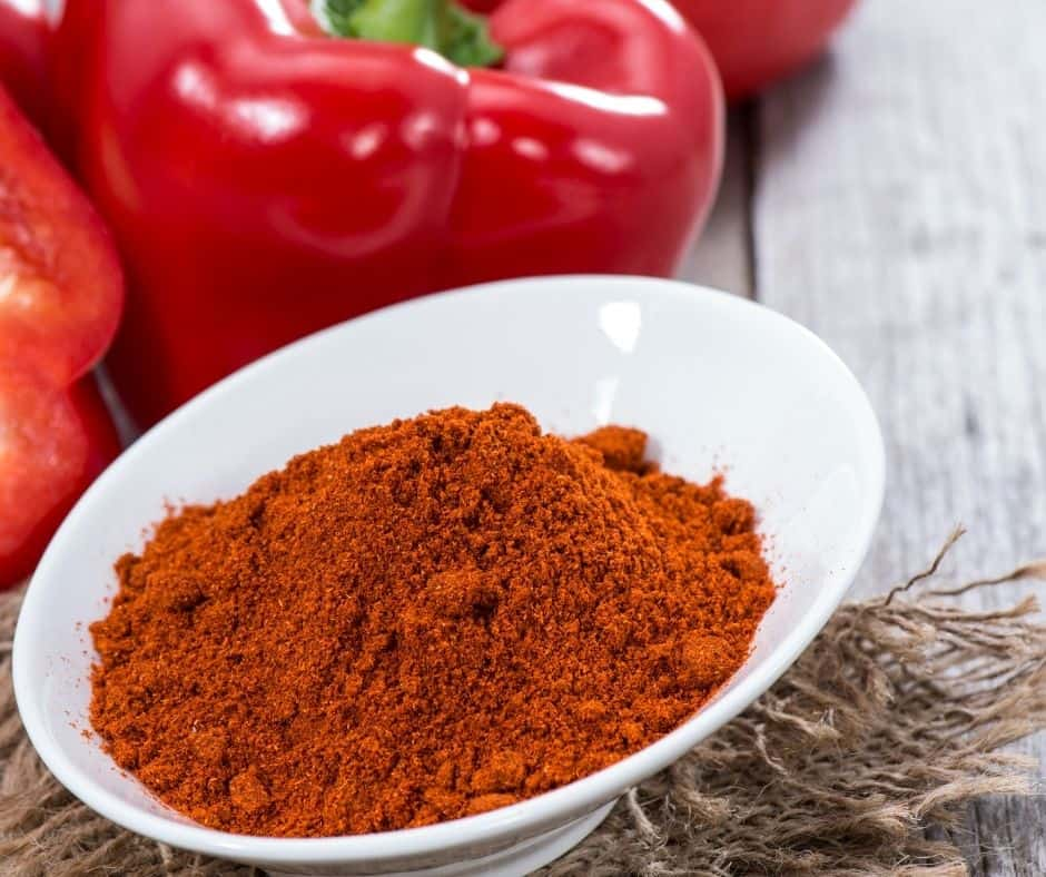 paprika spice made from dried and ground red peppers