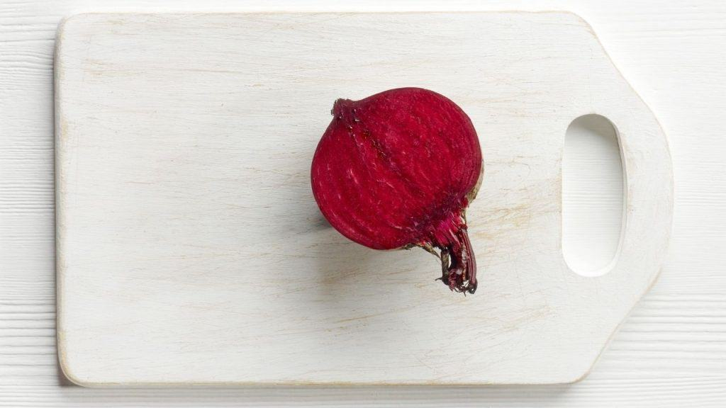 raw beetroot on the cutting board